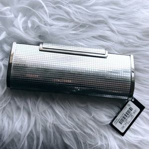 Bebe Silver Chainmail Clutch Bag NEW